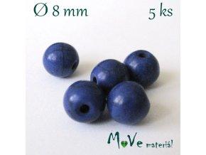 Korálky howlit barvený 8mm, 5ks, modrý