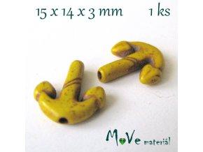 Kotva howlitová 15x14x3mm, 1ks, žlutá