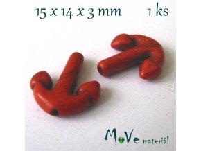 Kotva howlitová 15x14x3mm, 1ks, oranžová