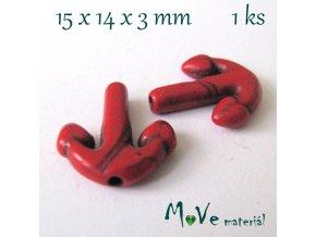 Kotva howlitová 15x14x3mm, 1ks, červená