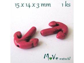 Kotva howlitová 15x14x3mm, 1ks, růžová