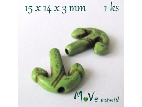Kotva howlitová 15x14x3mm, 1ks, zelená