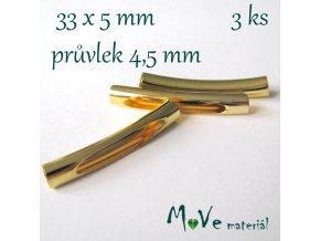 Korálek kovový 33x5mm trubička, 3ks, zlatý