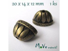 Masivní kaplík 20x14x12mm, 1ks, staromosazný