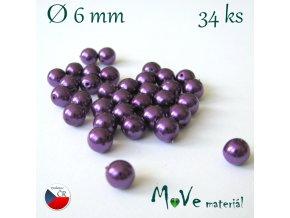 České voskové perle fialové 6mm, 34ks (cca 10g)