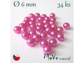 České voskové perle cyklámen 6mm, 34ks (cca 10g)