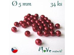 České voskové perle 5mm, 34ks (cca 5g), červené
