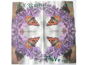 Ubrousek na decoupage 33 x 33cm 1ks, motýl