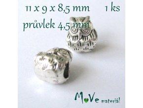 Korálek kovový sova, 1 kus, starostříbro