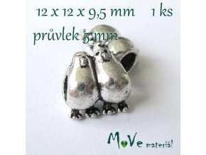 Korálek kovový tučňáci, 1 kus, starostříbro