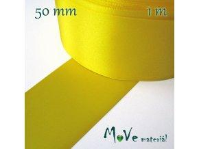 Stuha atlasová jednolící 50mm, 1m, žlutá