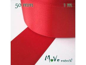Stuha atlasová jednolící 50mm, 1m,červená