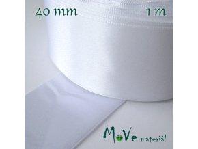 Stuha atlasová jednolící 40mm, 1m, bílá