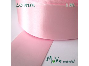 Stuha atlasová jednolící 40mm, 1m, růžová