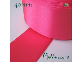 Stuha atlasová jednolící 40mm, 1m, neon. růžová