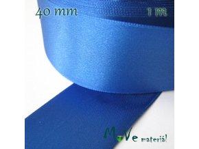 Stuha atlasová jednolící 40mm, 1m, modrá