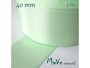 Stuha atlasová jednolící 40mm, 1m, sv. zelená