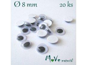 Samolepící oči 8mm, 20kusů
