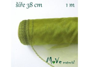 Organza š. 38 cm/ 1m, zelená