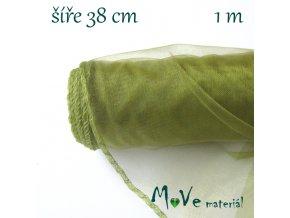 Organza š. 38 cm/ 1m, olivová
