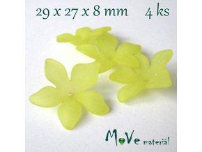 Akrylový květ 29x27x8mm, 4ks, žlutý