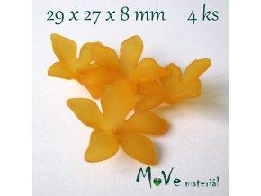 Akrylový květ 29x27x8mm, 4ks, oranžový