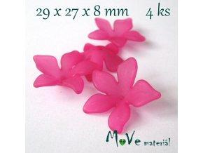 Akrylový květ 29x27x8mm, 4ks, růžový