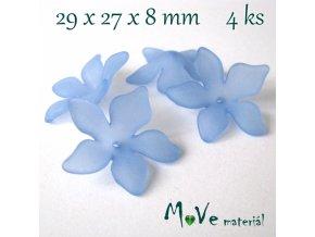 Akrylový květ 29x27x8mm, 4ks, modrý