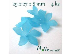 Akrylový květ 29x27x8mm, 4ks, tyrkysový