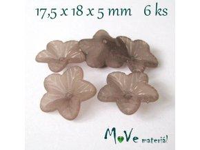 Akrylový květ 18mm, 6ks, šedohnědý