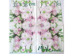 Ubrousek na decoupage 33 x 33cm 1ks, květy