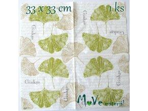 Ubrousek na decoupage 33 x 33cm 1ks, listy