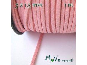 Plochá syntetická kůže, 1m, růžová se třpytkama