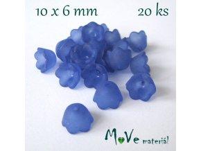 Zvonečky transparentní 10x6mm, 20ks, tm. modrý