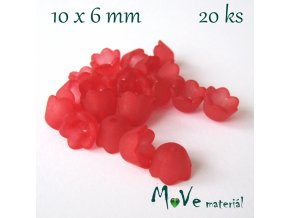 Zvonečky transparentní 10x6mm, 20ks, červené II