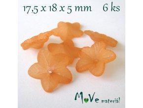 Akrylový květ 18mm, 6ks, tm. oranžový