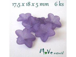 Akrylový květ 18mm, 6ks, tm. fialový