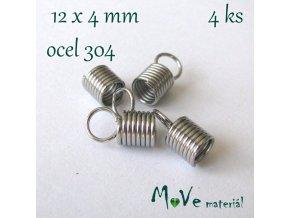 Koncovka - pružinka, ocel, 12x4mm, 4ks