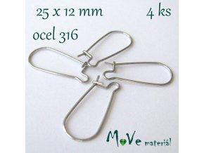Naušnicové háčky 25x12mm 4ks (2páry), ocel