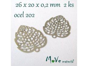 List 26x20x0,2mm - ocel, 2kusy