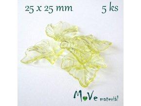 Akrylové transparentní lístečky, 5ks, žluté