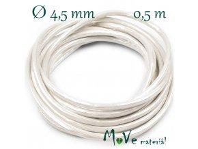 Lesklá šňůra průměr 4,5 mm/0,5m, bílá