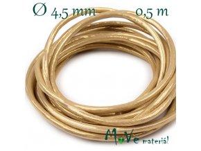 Lesklá šňůra průměr 4,5 mm/0,5m, zlatá