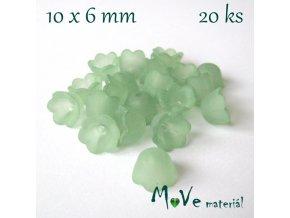 Zvonečky transparentní 10x6mm, 20ks, zelený