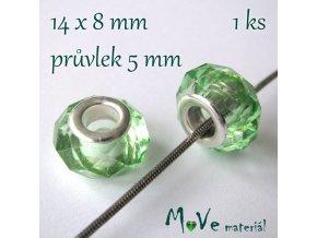 Korálek skleněný s šir. průvlek. 1 kus, sv. zelený