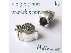 Korálek kovový šnek, 1 kus, starostříbro