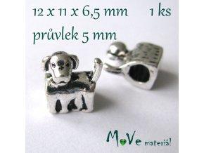 Korálek kovový pes, 1 kus, starostříbro