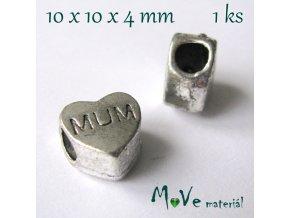 Korálek kovový srdce, 1 kus, starostříbro