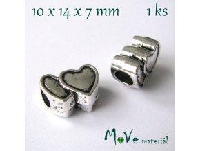 Korálek kovový dvojité srdce, 1 kus, starostříbro