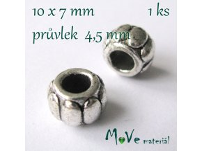 Korálek kovový, 1 kus, starostříbro
